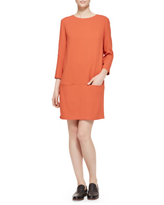 3/4-Sleeve Pocket Shift Dress