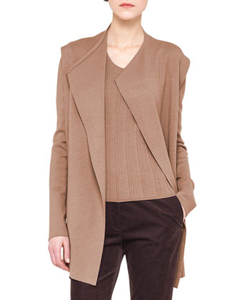 Long Fluid Knit Cardigan, Ribbed Elbow-Sleeve Top & Melvin Slim Stretch ...