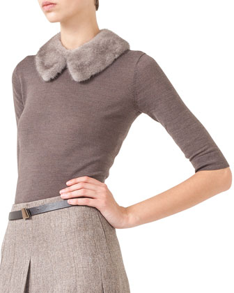 Reversible Mink/Cashmere Vest, Mink-Collar Knit Top & Pleated Slit-Front ...
