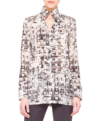 Abstract-Print Mock-Neck Tunic and Melissa Techno Stretch Slim Pants