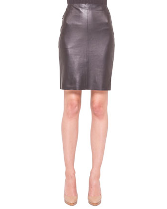 Napa Leather Zip-Pocket Pencil Skirt