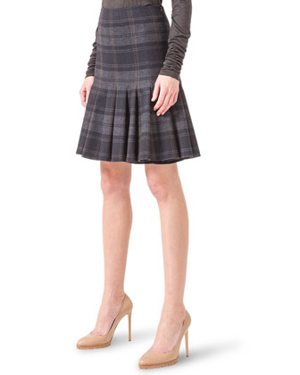 Drop-Pleat Plaid Flannel Skirt