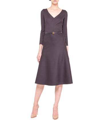 Long-Sleeve Belted Wool Satin Dress