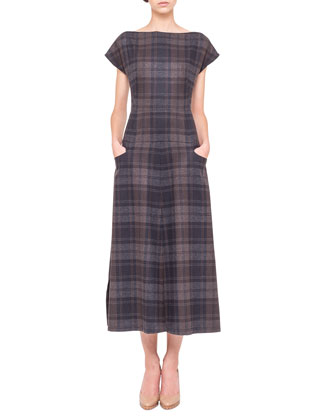 Cap-Sleeve Wool Flannel Midi Dress