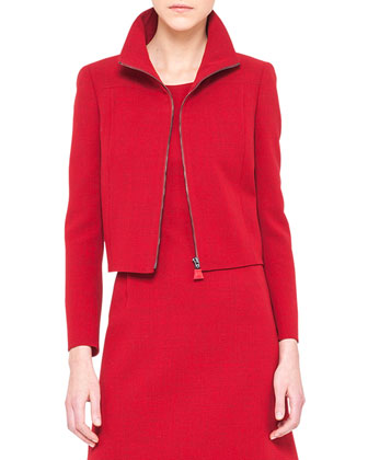 Double-Faced Short Zip Jacket and Sleeveless A-Line Wool Dress