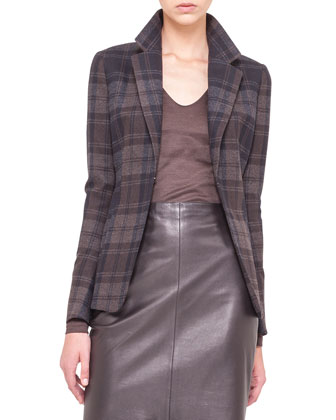 Plaid Flannel Jacket, Silk Jersey T-Shirt & Leather Zip-Pocket Pencil Skirt