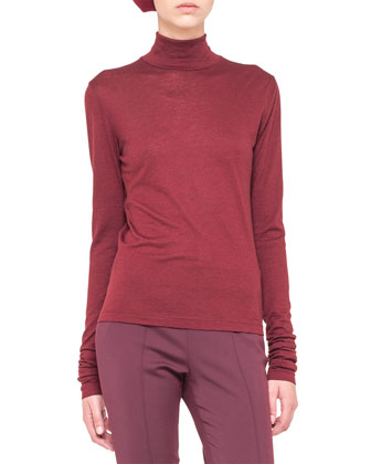 Box-Stitched Leather Jacket, Cashmere-Silk Turtleneck & Melissa Techno ...