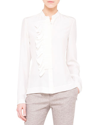 Ruffle-Front Silk Crepe Blouse