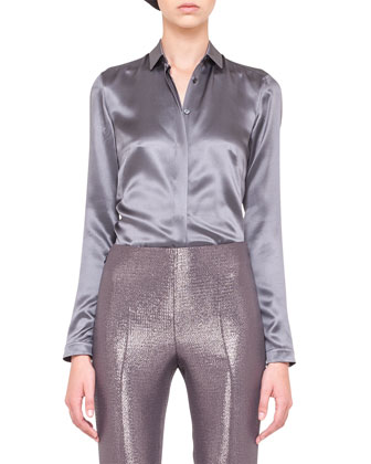 Shimmery Three-Button Jacket and Slim Pants & Silk Satin Shirt Blouse