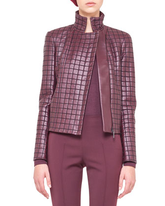 Box-Stitched Leather Jacket, Cashmere-Silk Turtleneck & Melissa Techno ...