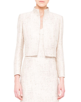 Shimmery Jacquard Short Jacket and Pleat-Detail Dress