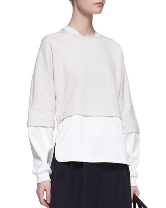 Double-Layer Combo Sweatshirt and Pleated Wide-Leg Shorts