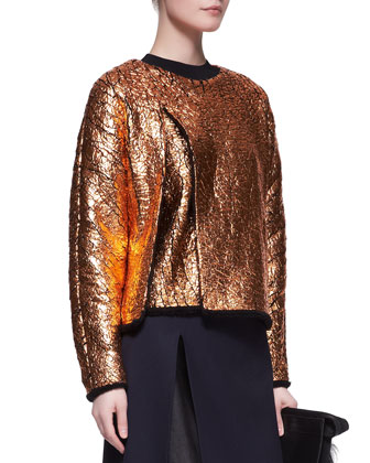 Crackled Metallic Cutaway Sweatshirt and Leather-Layer Slit Pencil Skirt