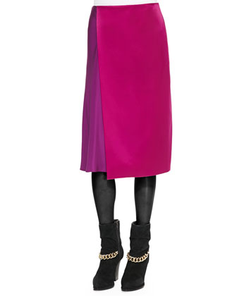 Dropped-Shoulder Poodle Sweatshirt and Two-Tone Draped Midi Skirt