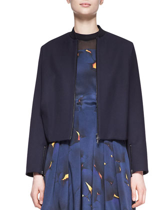 Boxy Cropped Bomber Jacket and Pleated Mesh-Inset Printed Dress