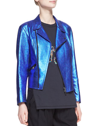 Boxy Metallic Leather Moto Jacket, Lights Out Combo Tank Top & Pull-On ...
