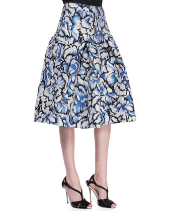 Classic Silk Taffeta Blouse & Flared Feather Floral Skirt