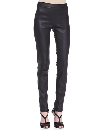 Octagon Cashmere Short-Sleeve Sweater & Skinny Leather Pants