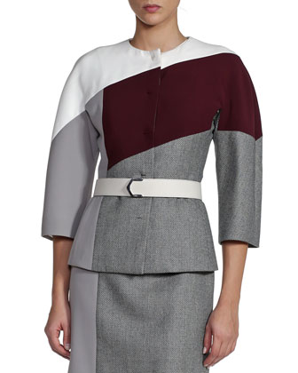 Colorblock Mixed Fabric Jewel-Neck Coat with Belt, Gray/White/Aubergine