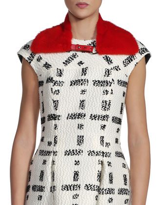 Mink Fur Collar & Graphic Boucle Bombolina Dress