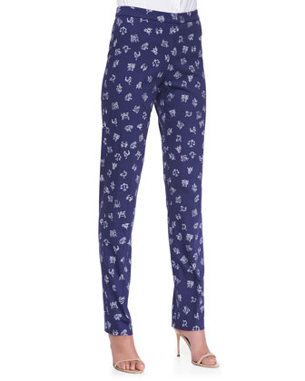 Zodiac Printed Straight-Leg Pants