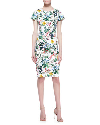 Botanical Cap-Sleeve Sheath Dress