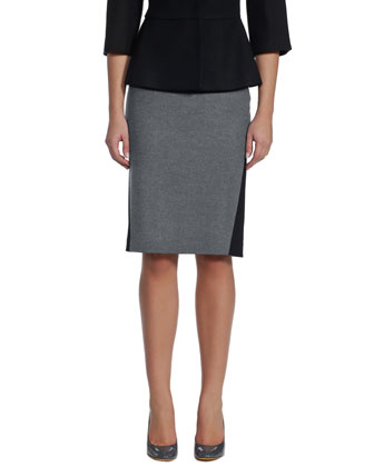 Bicolor Flannel Fitted Jacket & Pencil Skirt
