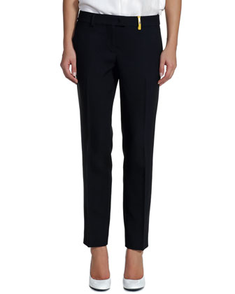Classic Stretch Wool Pants, Black