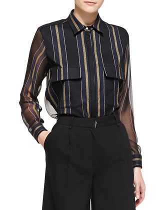 Striped Sheer-Panel Work Shirt