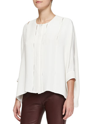 Oversized Bar Tacked Blouse, Cream