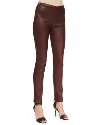 Oxblood Leather Pants with Side Zip