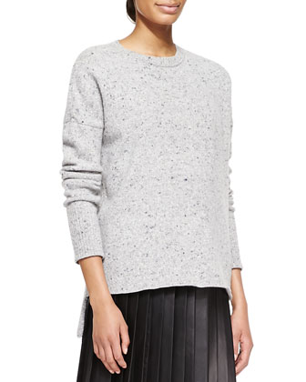 Boxy Melange Crew Sweater and Pleated Sheer-Panel Leather Skirt