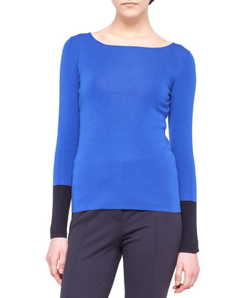 Contrast-Cuff Wool Knit Sweater