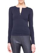 Long-Sleeve Zip-Front Jersey Top