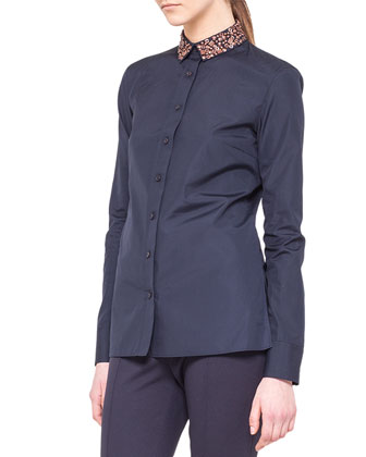 Embellished Detachable-Collar Shirt and Fabia Flat-Front Jersey Pants
