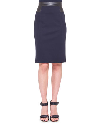 Check-Front Snap Jacket, Zip-Front Jersey Top & Waist-Trim Jersey Pencil Skirt