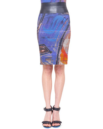 Graffiti-Print Silk Blouse and Pencil Skirt