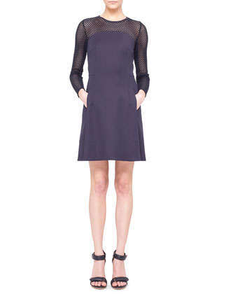 Mesh-Panel Techno A-Line Dress