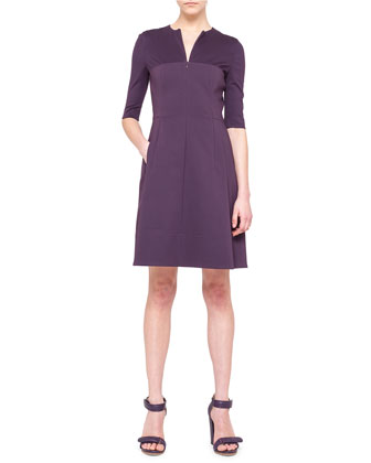 Half-Sleeve A-Line Combo Dress, Purple