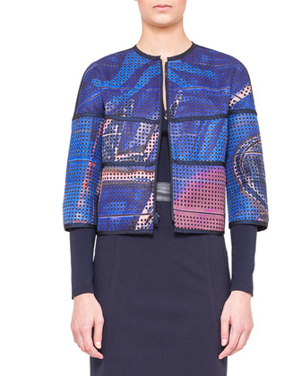 Reversible Printed Jacket, Graffiti Silk Tank & Jersey Pencil Skirt with ...