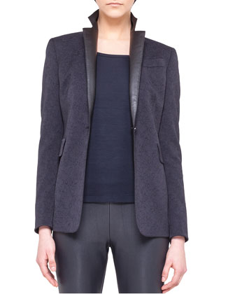 One-Button Jacket with Faux-Leather Lapels & Jacquard Pencil Skirt with ...