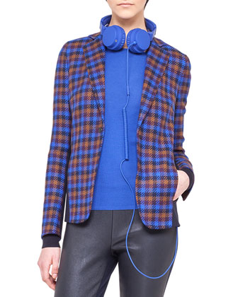 Paneled Check Wool Jacket, Contrast-Cuff Wool Sweater & Leather and Jersey ...