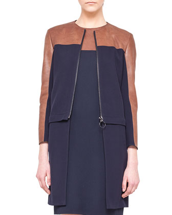 Detachable-Bottom Combo Coat and Sleeveless Leather-Yoke Shift Dress