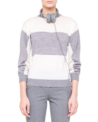 Melange Knit Drawstring Parka, Colorblock Knit Sweater & Flat-Front Jersey ...