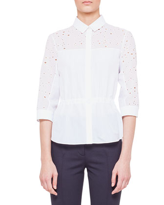 Circle-Embroidered Drawstring Blouse and Flat-Front Jersey Pants