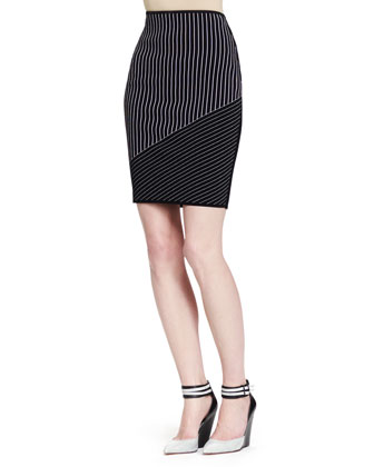 Slim Mixed-Pinstripe Skirt