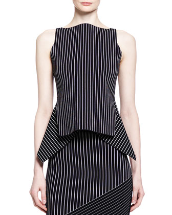 Mixed-Pinstripe Peplum Tank and Slim Skirt