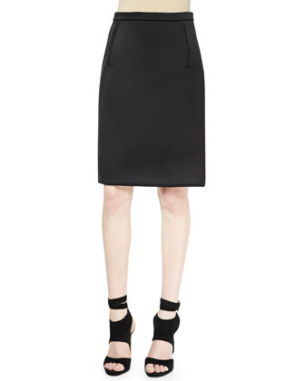 Sateen Fringe-Back Shell and Zip-Pocket Pencil Skirt