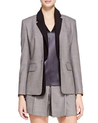 Classic Blazer with Detachable Collar
