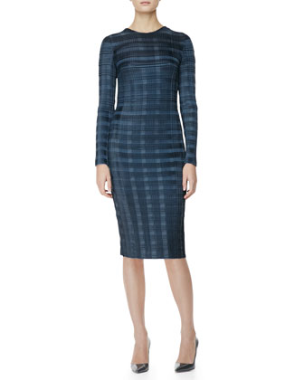 Long-Sleeve Pleated-Plaid Sheath Dress